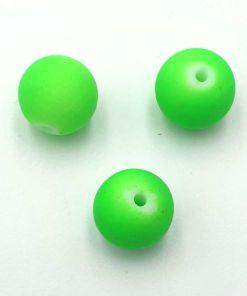 Rubber gecoate glaskralen Groen Neon 10mm