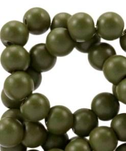 Glaskralen half mat Army green 4mm