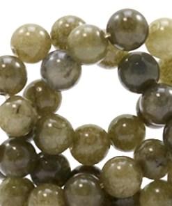 6 mm natuursteen kralen rond Olive green