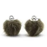 Pompom bedels faux fur 12mm Olive green