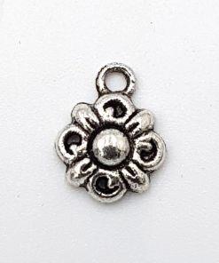 Bedel bloem 14x11mm antiek zilver