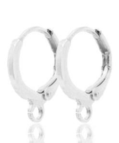 Oorbellen met 1 oog sluitbaar 12mm Antiek zilver (per paar)
