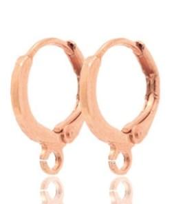 DQ metaal sluitbare oorhangers met oog Rosé goud (nikkelvrij)(per paar)