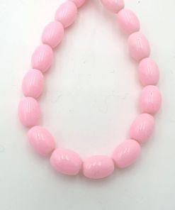 Glaskralen ovaal licht roze 8x10mm