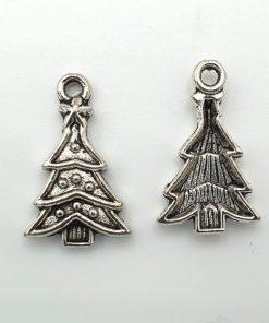 Metalen bedel kerstboom 14x23mm