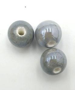 Kralen keramiek 10mm grijs