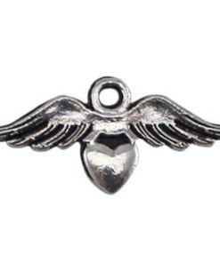 Metalen kralen angel wing met hartje Antiek zilver 11x23mm
