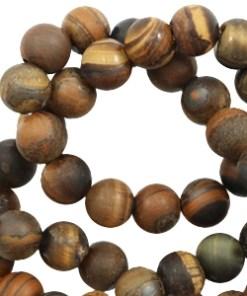 6mm Natuursteen kralen tiger stone mat Dark brown