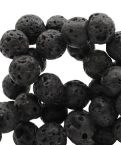 10mm natuursteen kralen mat Lava Dark anthracite black