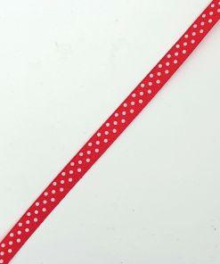 Satijnlint 10mm Rood met witte stippen