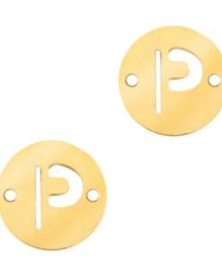 Roestvrij stalen (RVS) Stainless steel bedels tussenstuk rond 10mm initial coin P Goud