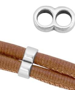 Onderdelen DQ metaal verbinder voor koord 5mm Antiek zilver