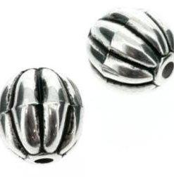 Metallook kraal ribbel 24mm antiek zilver
