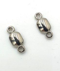 Metallook tussenstuk 15x5mm zilver