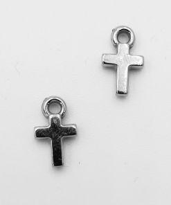 Metallook bedel Kruis 11x7mm antiek zilver