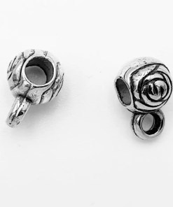 Metallook kraal met oog met roosje 11x5mm Ø3mm