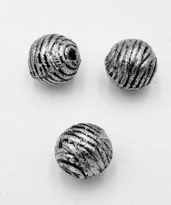 Metallook kraal Rond 11mm met streepjes antiek zilver