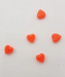 Acryl kralen hartje 6mm Neon rood oranje