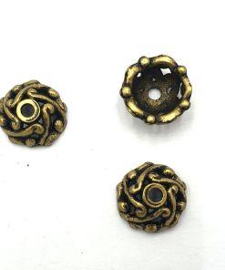 Metallook kralenkapje 12mm brons