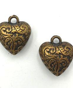 Metallook bedel hartje 23mm brons