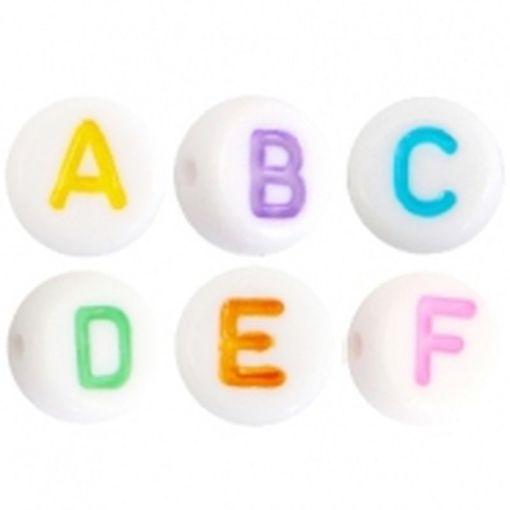 Letterkralen van acryl Multicolor-Wit