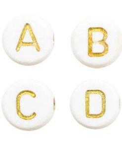 Letterkralen van acryl mix Off white-gold