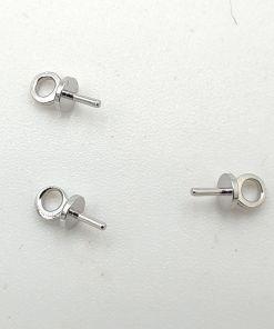 Metalen hangers/bedels met pin voor halfgeboorde kraal of parel ± 6x3mm