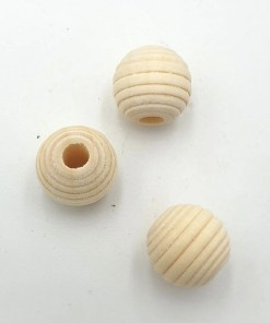 Houten Kralen blank met ribbel 13mm met groot gat 4mm