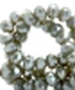 Top Facet kralen Olive grey 4x3mm top shine coating