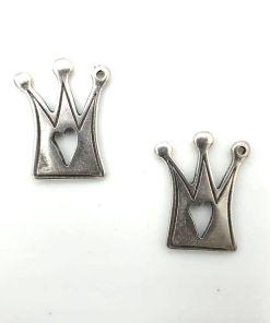 Metaal bedel Kroon antiek zilver 20x18mm