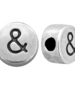 DQ metalen letterkraal & teken Antiek zilver (nikkelvrij)