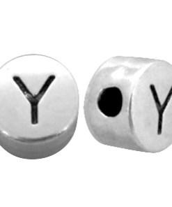 DQ metalen letterkraal Y Antiek zilver (nikkelvrij)