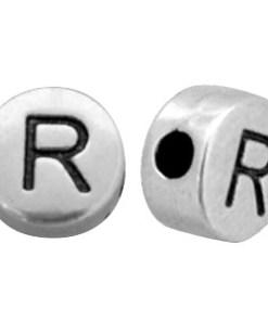 DQ metalen letterkraal R Antiek zilver (nikkelvrij)