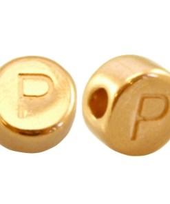 DQ metalen letterkraal P Goud