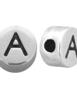 Letter en cijferkralen DQ metaal antiek zilver