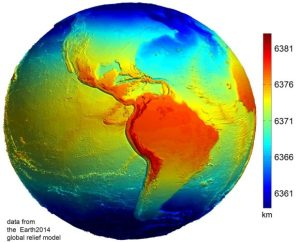 Данные из глобальной модели Земли 2014 года, где более яркими цветами указываются наиболее удаленные от центра Земли точки