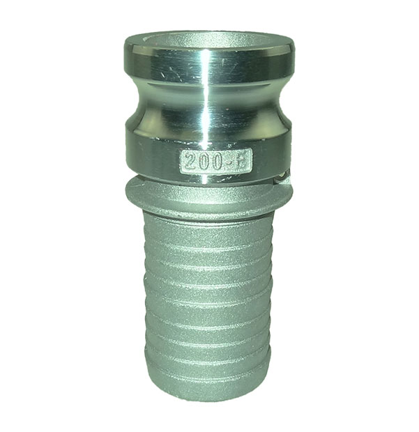 Male adapter with hose stem type E made of aluminum