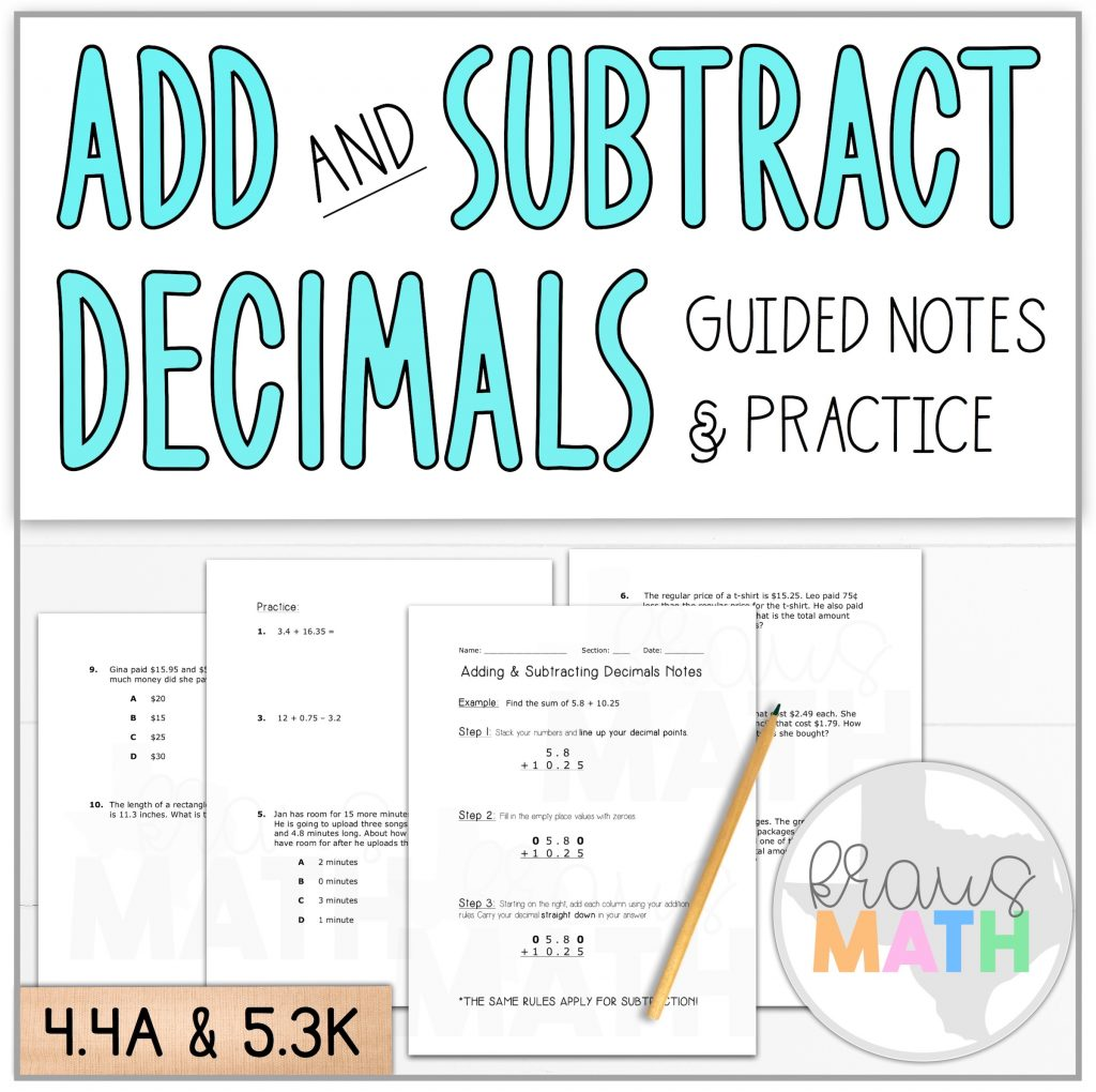 Add Amp Subtract Decimals Guided Notes Amp Practice Teks 4