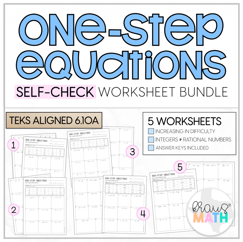 One Step Equations Self Check Worksheets