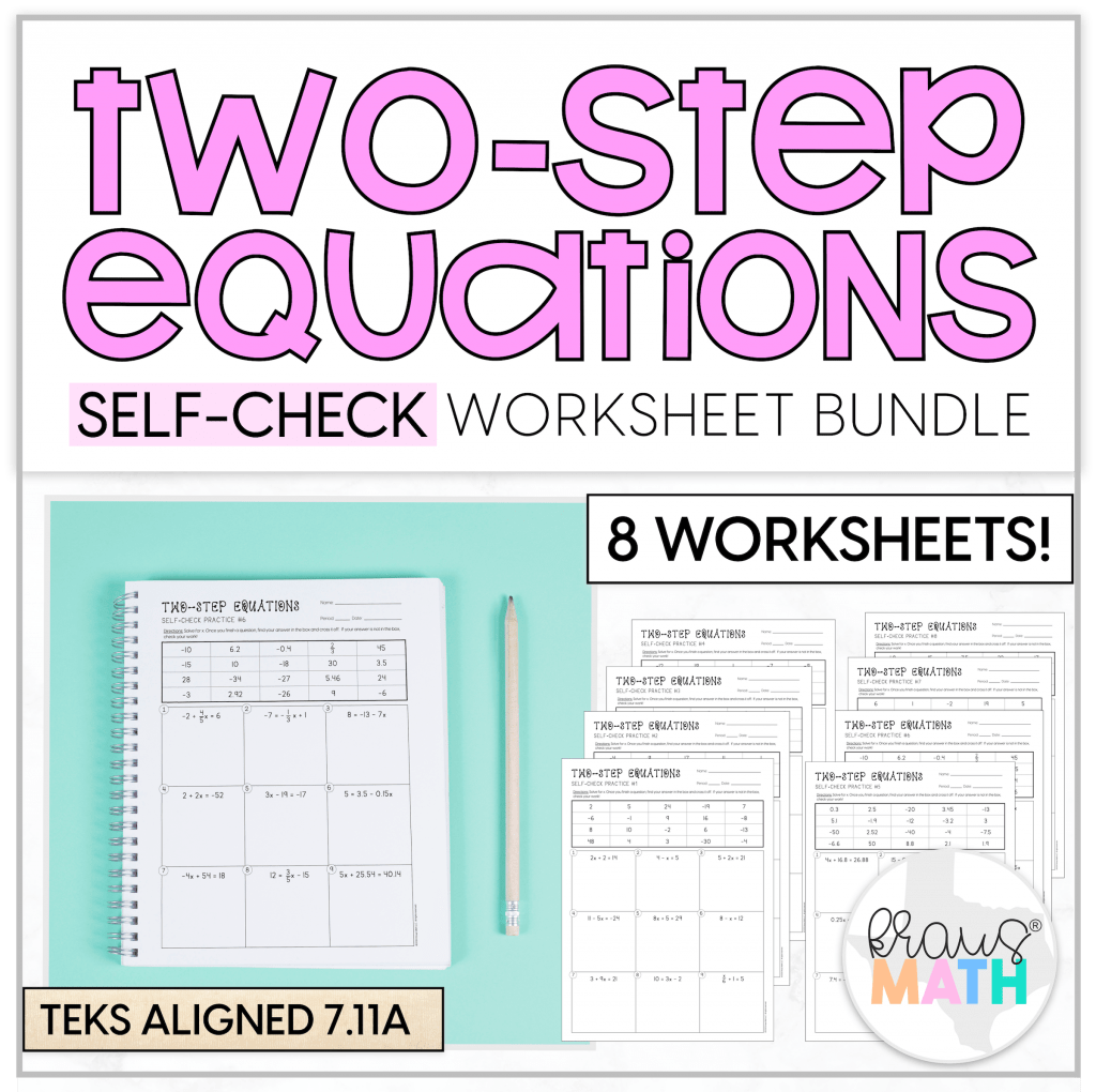 Two Step Equations Self Check Worksheets