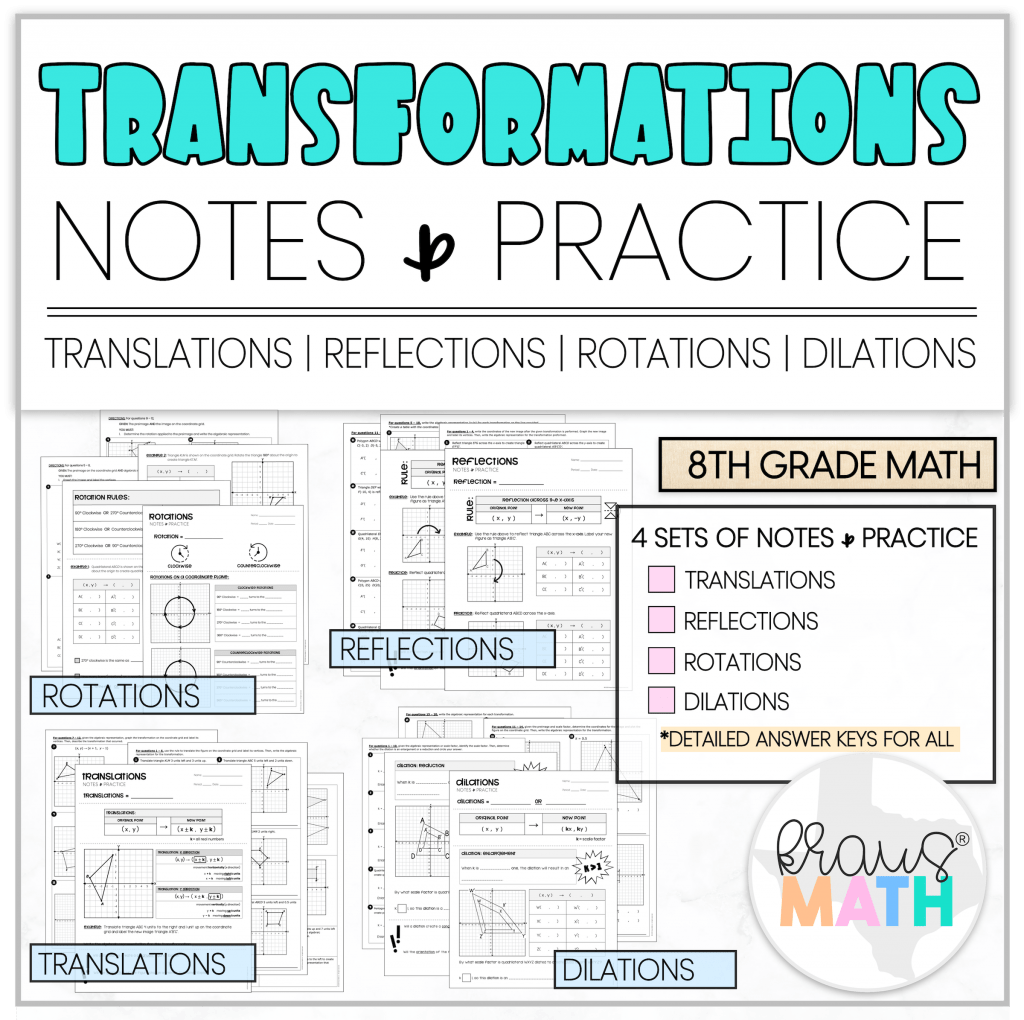 Transformations Notes Amp Practice Worksheets