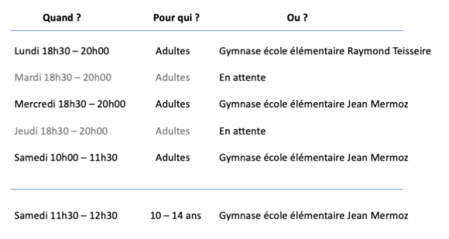 Planning cours