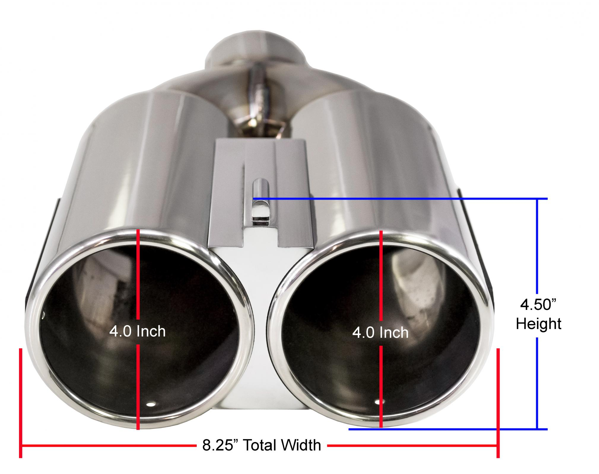 dual 4 inch outlet double barrel polished stainless steel exhaust tip double barrel