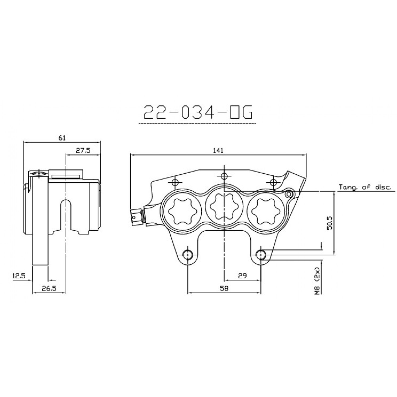 Etrier Avant 6 Pistons Isr Entraxe Fixation 58mm