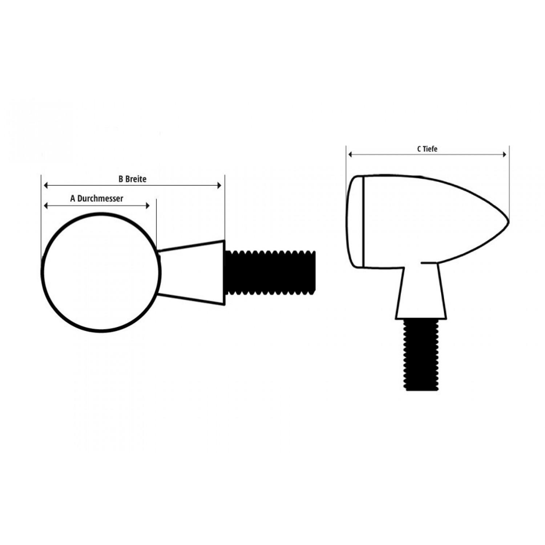 Clignotants Micro Bullet Chrome Strie