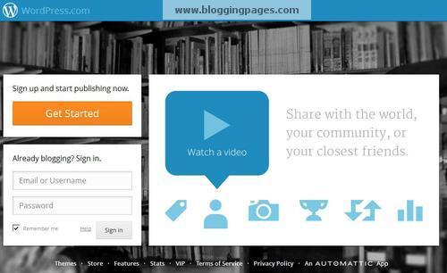 Wordpress.com Screen 1
