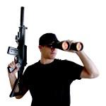 binoculars watch security rifle gun