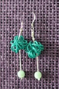 Boucles d'oreilles fil métallique turquoise, chainette couleur argent