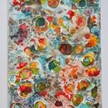 Toile technique mixte, acrylique, collage, dessin 30 x 40 cm Vendu