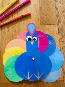 Activité sur les couleurs pour enfant